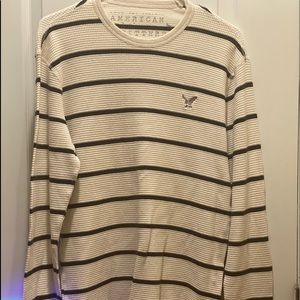 American Eagle Long Sleeve Striped Thermal Shirt